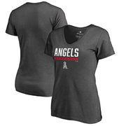 Los Angeles Angels Fanatics Branded Women's Win Stripe Plus Size V-Neck T-Shirt - Ash
