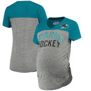 San Jose Sharks Touch by Alyssa Milano Women's Time-Out Maternity Tri-Blend T-Shirt – Gray