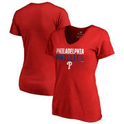 Philadelphia Phillies Fanatics Branded Women's Fade Out V-Neck T-Shirt - Red