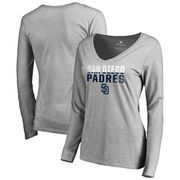 San Diego Padres Fanatics Branded Women's Fade Out V-Neck Long Sleeve T-Shirt - Ash