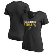 Pittsburgh Pirates Fanatics Branded Women's Fade Out Plus Size V-Neck T-Shirt - Black