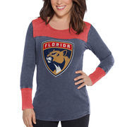 Florida Panthers Touch by Alyssa Milano Women's Blindside Thermal Long Sleeve Tri-Blend T-Shirt – Navy