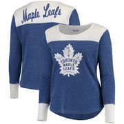 Toronto Maple Leafs Touch by Alyssa Milano Women's Plus Size Blindside Tri-Blend Long Sleeve Thermal T-Shirt - Blue/White