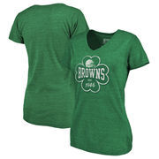 Cleveland Browns NFL Pro Line by Fanatics Branded Women's St. Patrick's Day Emerald Isle Tri-Blend V-Neck T-Shirt - Green