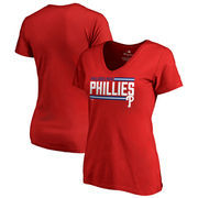 Philadelphia Phillies Fanatics Branded Women's Onside Stripe V-Neck T-Shirt - Red