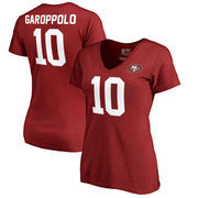 Jimmy Garoppolo San Francisco 49ers NFL Pro Line by Fanatics Branded Women's Authentic Stack Name & Number V-Neck T-Shirt – Scar