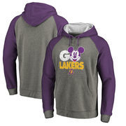 Los Angeles Lakers Fanatics Branded Disney Rally Cry Tri-Blend Raglan Pullover Hoodie - Ash