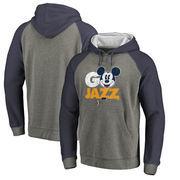 Utah Jazz Fanatics Branded Disney Rally Cry Tri-Blend Raglan Pullover Hoodie - Ash