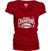 Alabama Crimson Tide Blue 84 Women's College Football Playoff 2017 National Champions V-Neck T-Shirt – Crimson