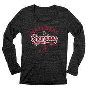 Alabama Crimson Tide Blue 84 Women's College Football Playoff 2017 National Champions Tri-Blend Long Sleeve T-Shirt – Heather Bl
