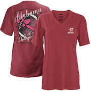 Alabama Crimson Tide Pressbox Women's College Football Playoff 2017 National Champions Oversized Coastal V-Neck T-Shirt – Crimso