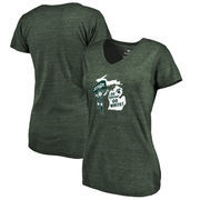 Michigan State Spartans Fanatics Branded Women's Hometown Collection Go Green, Go White Tri-Blend V-Neck T-Shirt - Green