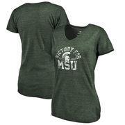Michigan State Spartans Fanatics Branded Women's Hometown Collection Victory MSU Tri-Blend V-Neck T-Shirt - Green