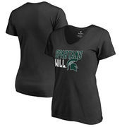 Michigan State Spartans Fanatics Branded Women's Hometown Collection Spartans Will V-Neck T-Shirt - Black