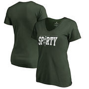 Michigan State Spartans Fanatics Branded Women's Hometown Collection Sparty V-Neck T-Shirt - Green