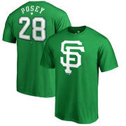 Buster Posey San Francisco Giants Fanatics Branded St. Patrick's Day Stack Name & Number T-Shirt - Kelly Green
