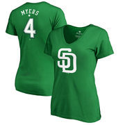 Wil Myers San Diego Padres Fanatics Branded Women's St. Patrick's Day Stack V-Neck Name & Number T-Shirt - Kelly Green