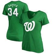 Bryce Harper Washington Nationals Fanatics Branded Women's St. Patrick's Day Stack V-Neck Name & Number T-Shirt - Kelly Green