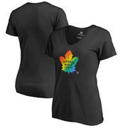 Toronto Maple Leafs Fanatics Branded Women's Rainbow Pride V-Neck T-Shirt - Black