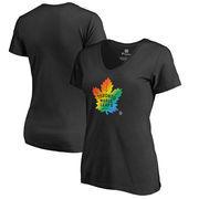 Toronto Maple Leafs Fanatics Branded Women's Rainbow Pride V-Neck Plus Size T-Shirt - Black