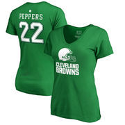Jabrill Peppers Cleveland Browns NFL Pro Line by Fanatics Branded Women's St. Patrick's Day Icon V-Neck Name & Number T-Shirt -