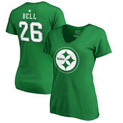 Le'Veon Bell Pittsburgh Steelers NFL Pro Line by Fanatics Branded Women's St. Patrick's Day Icon V-Neck Name & Number T-Shirt -