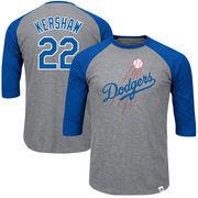 Clayton Kershaw Los Angeles Dodgers Majestic Big & Tall Player Raglan 3/4-Sleeve T-Shirt – Heathered Gray/Royal