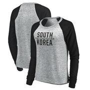 South Korea Flag Fanatics Branded Women's Cozy Collection Bars Hacci Raglan Crew Sweatshirt - Heathered Gray