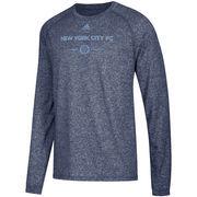 New York City FC adidas Lined Up Performance Raglan Long Sleeve T-Shirt – Heathered Navy