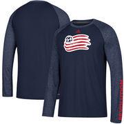 New England Revolution adidas Leave A Mark Performance Long Sleeve climalite T-Shirt – Navy/Heathered Navy