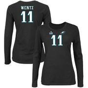 Carson Wentz Philadelphia Eagles NFL Pro Line by Fanatics Branded Women's Super Bowl LII Bound Fair Catch Patch Name & Number Lo
