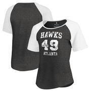 Atlanta Hawks Fanatics Branded Women's Hang Time Short Sleeve Raglan T-Shirt - Black