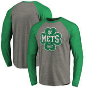 New York Mets Fanatics Branded St. Patrick's Day Emerald Isle Long Sleeve Tri-Blend Raglan T-Shirt - Ash