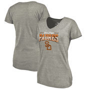San Diego Padres Fanatics Branded Women's Cooperstown Collection Season Ticket Tri-Blend V-Neck T-Shirt - Heathered Gray
