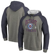 Detroit Tigers Fanatics Branded Cooperstown Collection Old Favorite Tri-Blend Raglan Pullover Hoodie - Ash