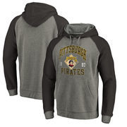Pittsburgh Pirates Fanatics Branded Cooperstown Collection Old Favorite Tri-Blend Raglan Pullover Hoodie - Ash
