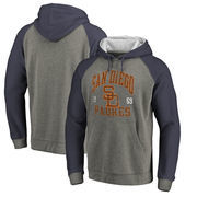 San Diego Padres Fanatics Branded Cooperstown Collection Old Favorite Tri-Blend Raglan Pullover Hoodie - Ash