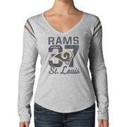 '47 Brand St. Louis Rams Women's Touchdown Long Sleeve V-Neck T-Shirt - Ash