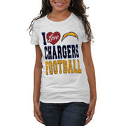 Los Angeles Chargers Women's I Love Relaxed Crew T-Shirt - White