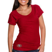 Cutter & Buck San Francisco 49ers Women's Double Team Slub Scoop Neck T-Shirt - Scarlet