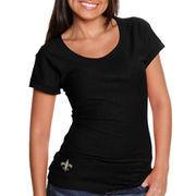 Cutter & Buck New Orleans Saints Women's Double Team Slub Scoop Neck T-Shirt - Black