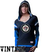 Old Time Hockey Winnipeg Jets Women's Marte Long Sleeve Hooded T-Shirt - Polar Night Blue/Aviator Blue