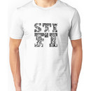 Sticky Fingers (Logo) w/ Skeleton Background Unisex T-Shirt