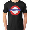 UNDERGROUND, TUBE, LONDON, GB, ENGLAND, BRITISH, BRITAIN, UK on BLACK Unisex T-Shirt