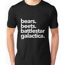 Bears. Beets. Battlestar Galactica. (White Variant) Unisex T-Shirt