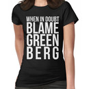 When in Doubt, Blame Greenberg. - white text Women's T-Shirt