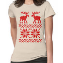 Moose Pattern Christmas Sweater Women's T-Shirt