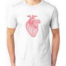 red human heart with geometric mesh pattern Unisex T-Shirt