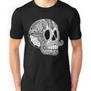 Mustache Sugar Skull (Black & White) Unisex T-Shirt