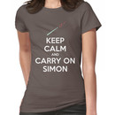 Keep Calm and Carry On Simon (White Text) Women's T-Shirt